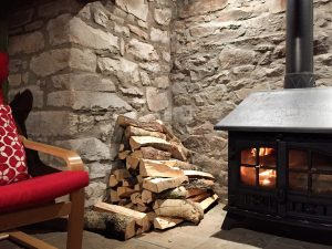 Log fire at Llwyn Llwyd Cottage