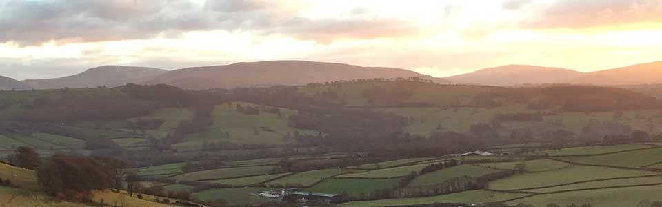 The view from above Llwyn Llwyd Cottage